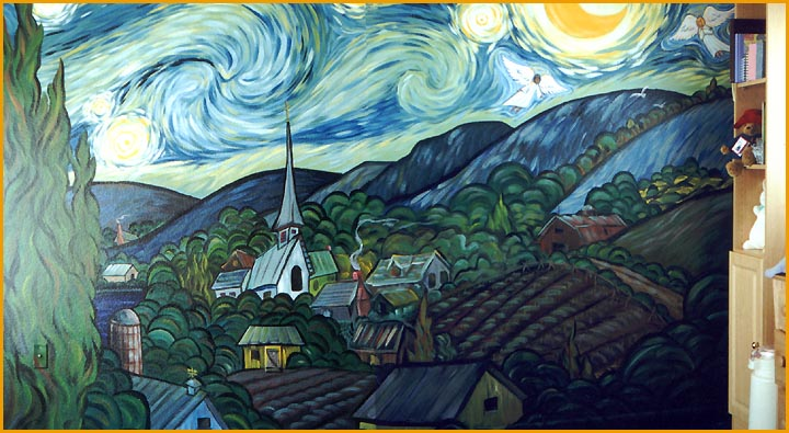 starry night mural vincent van gogh starry night hand painted mural wall